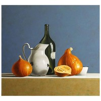 """""""Pumpkins on Blue Background"""" Painting by Stefaan Eyckmans"""
