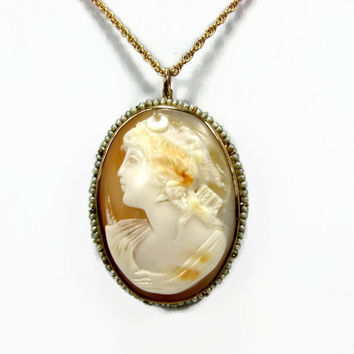 Antique Gold Diana Shell Cameo Brooch Pendant, 10K Rose Gold, Seed Pearls, Artemis Cameo, Estate Jewelry, Gold Cameo, Antique Pendant