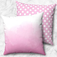 Watercolor and Polka Dot Pink Faux Suede Pillow
