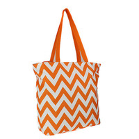 Orange chevron tote bag