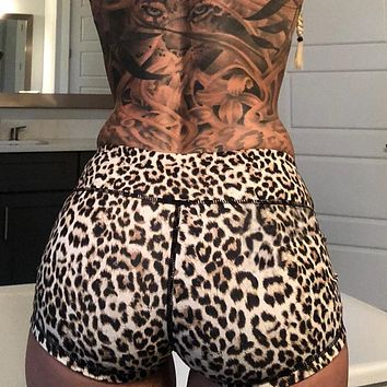 Women Workout Shorts Summer 2018 Gym Club Sexy Stretch Bodycon High Waist Gym Bike Yoga Leopard Printed Short Pants Sports Wear