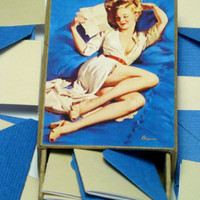 Mini Tiny Envelopes Notes Stationery Writing Boxed Set Pin Up Girl Box Gil Elvgren Pinup Art Blue Blush Nude