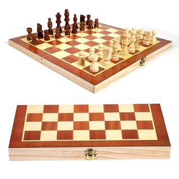 Funny Folable Wooden International Chess Pieces Set Board Game Chessboard Sports Entertainment for Party Family Activities