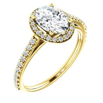 1.25 Ct Oval Halo-style Diamond Engagement Ring 14k Yellow Gold