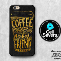 Coffee Quote iPhone 6s Case iPhone 7 Plus iPhone 6 Plus iPhone 6s Plus iPhone 5c iPhone 5 iPhone SE Case Quote Gold Black Coffee Cup Tumblr
