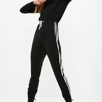 Missguided - Black Sidestripe Tracksuit Jumpsuit