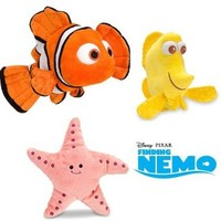 Disney Pixar Finding Nemo Plush Nemo with Bubble and Peach Set of Three Stuffed Animals