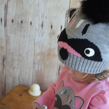 Child's Raccoon Hat & Mitten Set