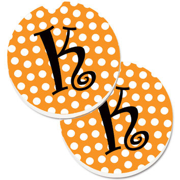 Monogram Initial K Orange Polkadots  Set of 2 Cup Holder Car Coasters CJ1033-KCARC