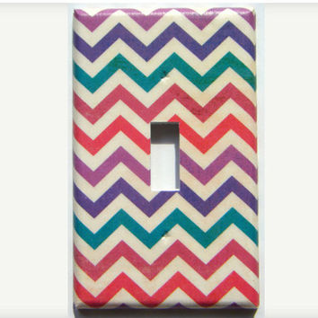 Chevron Light Switch Cover, Purple,Teal,Red Chevron Switch Plate