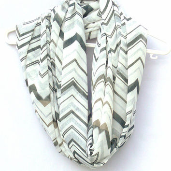 Chevron Infinity Scarf. White and Gray Circle Scarf. Loop Scarf. Women Accessories