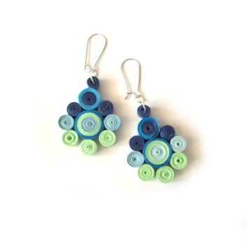 Blue Green Quilled Paper Earrings, Dangle Earrings with Quilled Elements, Quilled Paper Earrings, Quilling Jewelry