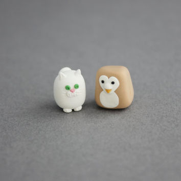owl and pussycat figurines tiny animal miniatures owl and cat totem