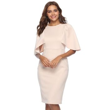 Round Ruffle Sleeve Office Midi Dress