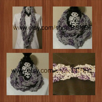 Sparkly Purple and Silver Braided Infinity Scarf ( loop, cowl, texture, wrap, twist, cable, wintery, grey)