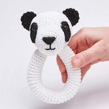 Panda Bear Amigurumi Crochet Baby Rattle Soft Toy Eco Friendly Panda Rattle Baby Shower Gift
