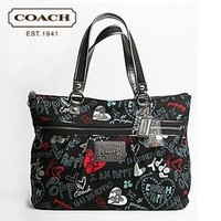 Coach Poppy Black Graffiti Glam Tote Coach one size by Michelle Plazyk