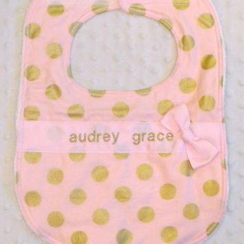 Personalized Bib with Matching Bow - Baby Girl Baby Pink and Glamorous Gold Polka Dots