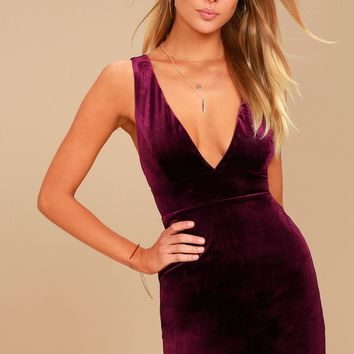 Three Cheers Plum Purple Velvet Bodycon Dress