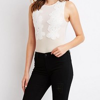 Floral Embroidered Mesh Bodysuit | Charlotte Russe