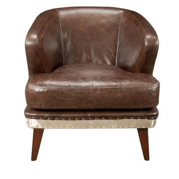 Preston Club Chair Brown Top Grain Leather Hardwood & Plywood Frame