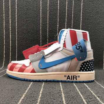 OFF WHITE x Air Jordan 1 Custom Parra Blue White Red Sport Basketball Shoes - Best Online Sale