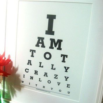 I Love You eye chart I am Totally Crazy in by Tilependantjewelry