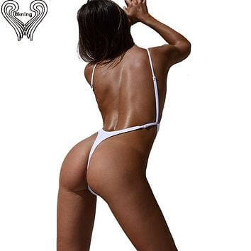 Thong One Piece Swimwear 2017 Sexy Thong Bodysuit Bikini Leotard One-Piece Swimsuits Women High Cut Swimming Suit Beachwear