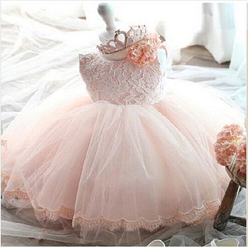 2017 vintage Baby Girl Dress Baptism Dresses for Girls 1st year birthday party wedding Christening baby infant clothing bebes