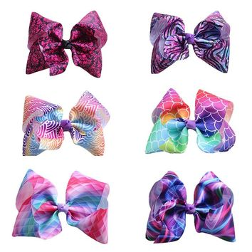 "Boutique 8"" Oversize Fashion Cute Mermaid/Leopard Print Ribbon Bow Hairpins Solid Gradient Rainbow Color Bowknot Hair Clips"