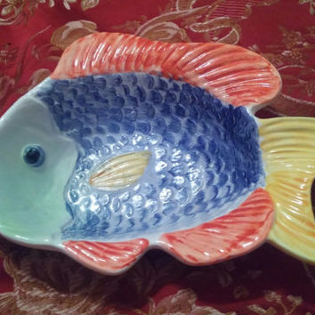 Amusing Ceramic Textured Fish Shaped Bowl Made in Portugal
