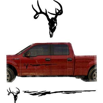 English Mount Hunting Deer Trailer Decals Truck Decal Side Set Vinyl Sticker Auto Decor Graphic Kit TT09