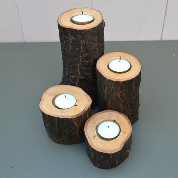 Set of 4 Rustic Wood Candle Holders, Tree Branch Candle Holder , Rustic Wedding Centerpieces , Wood Tea Light Candle Holder