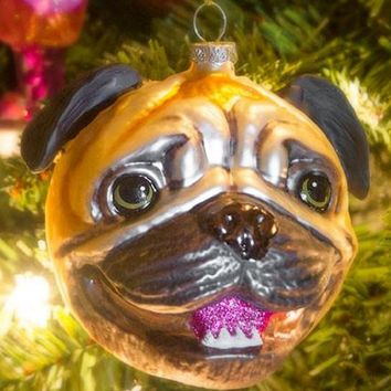Pug Head Ornament - Ships Early December