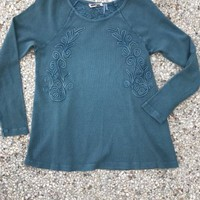 Soft Surroundings Embroidered Waffle Thermal Top Vintage Washed Teal