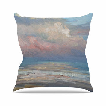 "Carol Schiff ""Pink Clouds"" Blue Gray Throw Pillow"