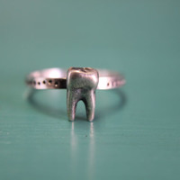 Sterling silver tooth stacking ring
