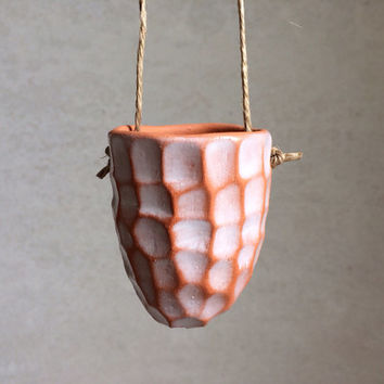 Hanging Faceted Planter - Terracotta Planter - Succulent Planter