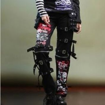 Men's Goth kill Matt men's pants and non mainstream printing graffiti skull straight personality eyelet pants for singer dancer