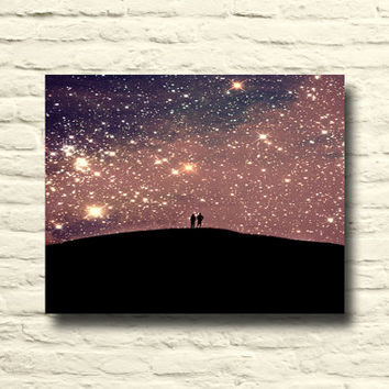 Starry Night sky photo. Purple art. lover's silhouettes. surreal sky. stars. dreamy. cosmic. canvas wall art. purple home decor. black gold.