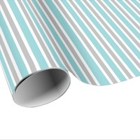 Blue, Gray and White Stripes Wrapping Paper