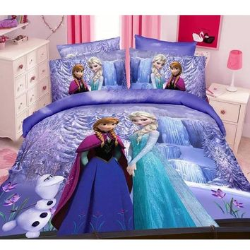 Cartoon Frozen Princess Elsa Anna Girls Bedding Set Children's  Duvet Cover Set Bedroom Decor Twin/Single Size Birthday Gift