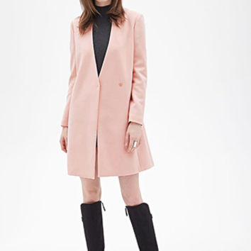 FOREVER 21 Collarless Asymmetrical Coat Blush