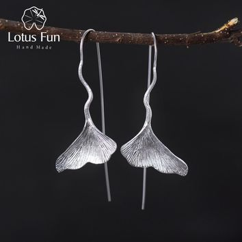 Lotus Fun Real 925 Sterling Silver Natural Handmade Designer Fine Jewelry Ginkgo Leaf Fashion Dangle Earrings for Women Brincos
