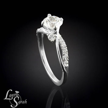Dainty Diamond Engagement Ring with swirl split shank - LS2682