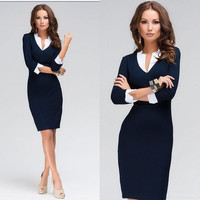 Work Dresses Fashion Womens Elrgant Chiffon and Wrap Bodycon Dresses Hot Womens Lapel Neck and Long Sleeve Slim Skirt