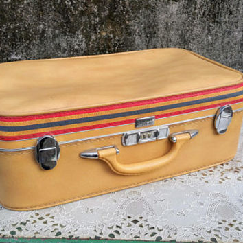 Vintage Yellow Amelia Earhart Suitcase with Stripe Trim