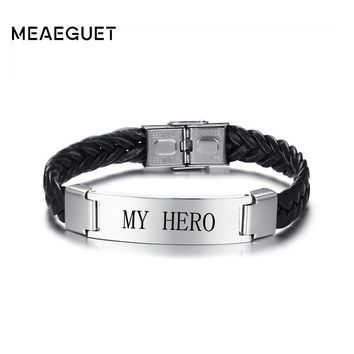 Meaeguet Free Engraving Laser Customized Leather Bracelet & Bangle For Men Braided ID Personalized Men Bracelets Jewelry