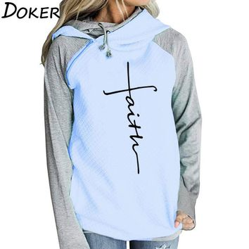 Autumn Long Sleeve Patchwork Hoodies Women Letters Faith Embroidered Pocket  Sweatshirts Winter Female Fleece Warm Pullover Tops