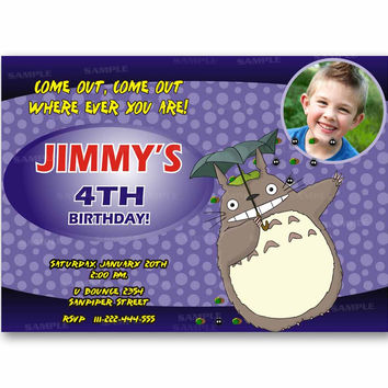 Totoro Blue Polka Dot Kids Birthday Invitation Party Design